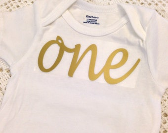 """Gold Iron-On vinyl cursive """"one"""" lettering for yearly, monthly or birthday onesie- Lettering ONLY"""