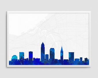 Cleveland Ohio Cityscape and Street Map Blue Watercolor Art Print Office or Home Wall Decor