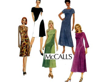 McCall's 4510 Womens Bias Color Block Dress Sewing Pattern Out Of Print Size 8 10 12 14 Bust 31.5 32.5 34 36 inches UNCUT Factory Folded