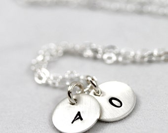 Mother's Day gift, Personalized necklace with tiny initials, initials necklace, personalized gift, sterling silver