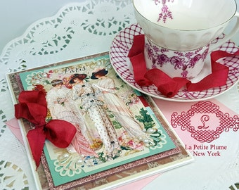 Paris 1912, Blank Single Note Card, Paris Pink Shimmer Lined Envelope Included