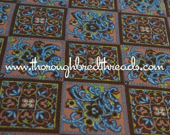Geometric Tiles - Vintage Fabric 60s 70s New Old Stock Browns Blues Floral