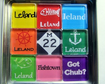 LELAND, Michigan - M22, Manitou Islands, Up North Michigan, Michigan Magnets Set, Up North, Leland, Leelanau, Traverse City, Fishtown