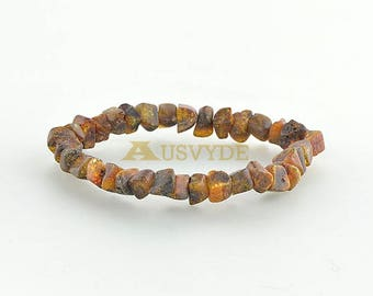 Adults Amber bracelet, raw amber beads, unpolished amber style, natural color, organic beads, 18 cm (7,1 inches), 5057