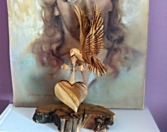 Wooden sculpture,Holy Spirit, Christian Gift, Christian Carving, Dove, Heart, Cross, Christian Art, Christian, Religious,Jesus,Christ, Love,