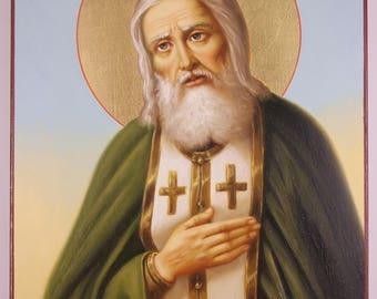 Saint Seraphim of Sarov Russian Orthodox Icon, hand-painted icon