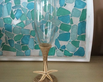 Champagne Flutes clear or cobalt blue with sand stem and base with either seaglass or starfish