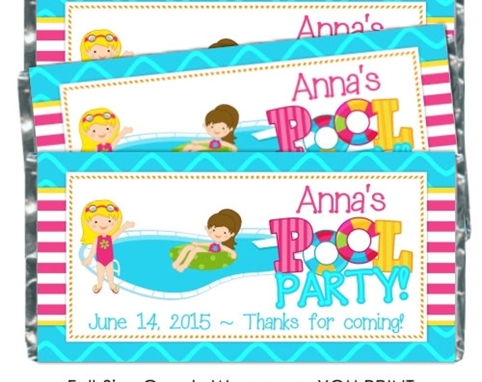 Printable Candy Wrappers, Pool Party Candy Wrapper, Birthday candy wrappers, fit over chocolate bars, pool party wrappers, YOU PRINT
