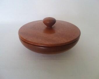 Lidded Mahogany Trinket Dish