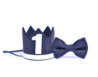 1st Birthday Boy Birthday Crown And Bow Tie Set ||  1st Birthday Party Hat || First Birthday Crown|| Boy Birthday Outfit