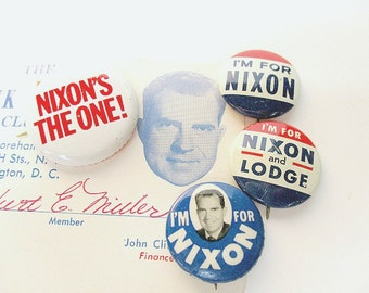 Historical Political Buttons / Dick Nixon / Club Card / GOP Campaign Button / 1960