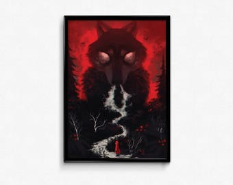 PRINT. Big bad wolf and little red riding hood. Fantasy art. Black wolf. Horror art. Surreal painting. Wall art. Handsigned. Letter size