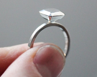 Engagement ring alternative - modern - diamond like - Ascher cut square - Modern rock - recycled sterling silver, size 7
