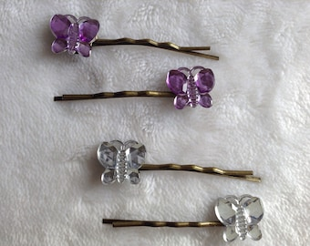 Mini butterfly hair pins (1 pair) - butterfly bobby pins - butterfly hair grips - butterfly hair accessories