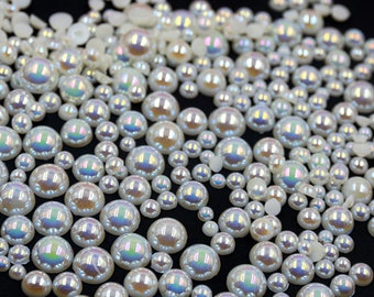 100pcs assorted flat bottom ab color pearls