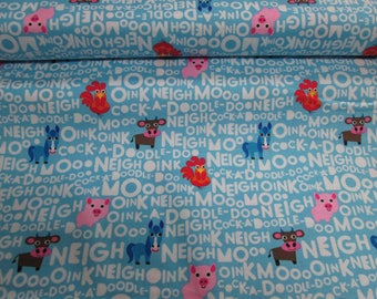 Cotton fabric 100% cotton fabric pig pattern, blue writing