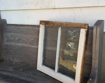 Salvaged Weathered 2 Pane Painted Antique Wood Window