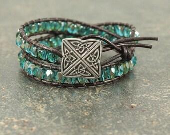 Celtic Knot Bracelet Unique Silver Teal Turquoise Celtic Knot Jewelry Irish Jewelry Celtic Jewelry