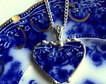 Broken China Jewelry - recycled china heart pendant necklace - Antique 1880s English Flow Blue broken china jewelry - Dishfunctional Designs