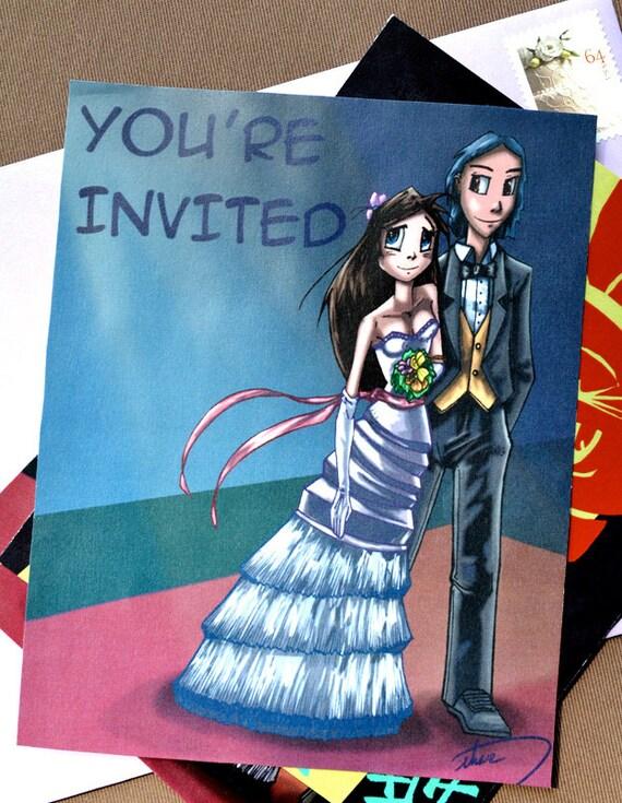 Items similar to japanese anime style wedding invitation unique items similar to japanese anime style wedding invitation unique original customized on etsy stopboris Choice Image