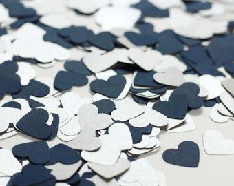 Navy Blue Confetti - Shimmery Silver Heart Confetti - Table Confetti - Table Decorations for Wedding