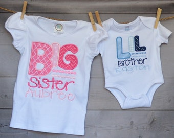 Personalized Big Little Brother Big Little Sister Applique Shirt or Bodysuit Girl or Boy