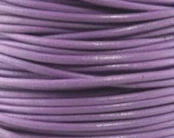"2mm Round Lilac Leather Lace Cord - 2mm 3/32"" Diameter Purple Lavender Craft Jewelry Bracelet Wrap Necklace - I ship Internationally"