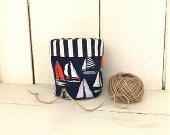 Fabric basket organizer, fabric basket, nautical decor, sailboats, fabric bucket, storage bins, fabric basket storage, fabric bins