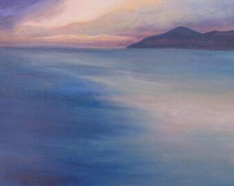 Reflection: sunset island art print of original painting in aquamarine, purple, blue, pink, yellow by Kauai, Hawaii artist Donia