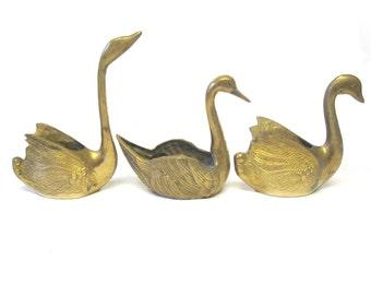 Brass Three Swan Bird Figurine