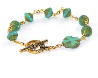 Christian Rosary Bracelet, Anglican Wrist Rosary - Seafoam Green & Gold