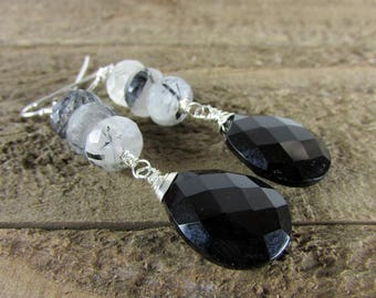 Rutilated Quartz & Black Onyx Earrings, Black and White Dangles, Gemstone Jewelry