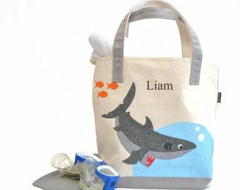 Large Shark Tote |Personalized Kids Tote| Shark party| Kids Beach tote|Boys Pool Tote |Toddler Tote Bag| Preschool Tote bag|Library book bag