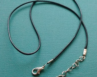 12 Wax Cord Necklaces Black with Lobster Clasp -N4009