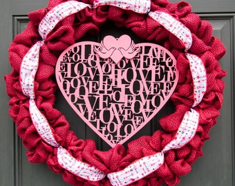 Valentine's Day Wreath - Burlap Wreath - Front Door Wreath - V-Day Wreath - Home Wreath - Valentines Day Wreath - Valentines Wreath