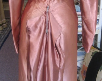 "1940's, 34"" bust copper colored rayon satin dress, late 1940's"