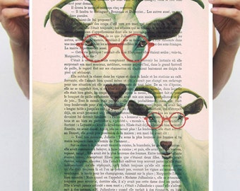 Goat Poster, Heart poster, Love,  digital print POSTER 11x16:  Clever Goats