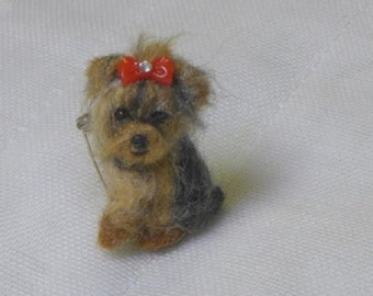 Pet Gift Felt Miniature Custom Yorkie Pin  / Needle Felted Portrait of Your Pets / Personalized just you