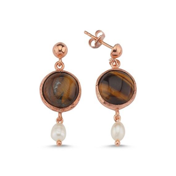 Silver Tiger's Eye Earrings, Rose Gold Pearl Earrings, Natural  Tigers Eye and Pearl Earrings ,Dainty Earrings , Gift For Her