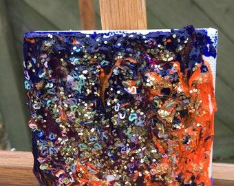 Clustered-acrylic on mini canvas