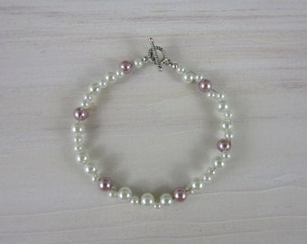 Blush and Ivory Glass Pearl Cluster Bracelet