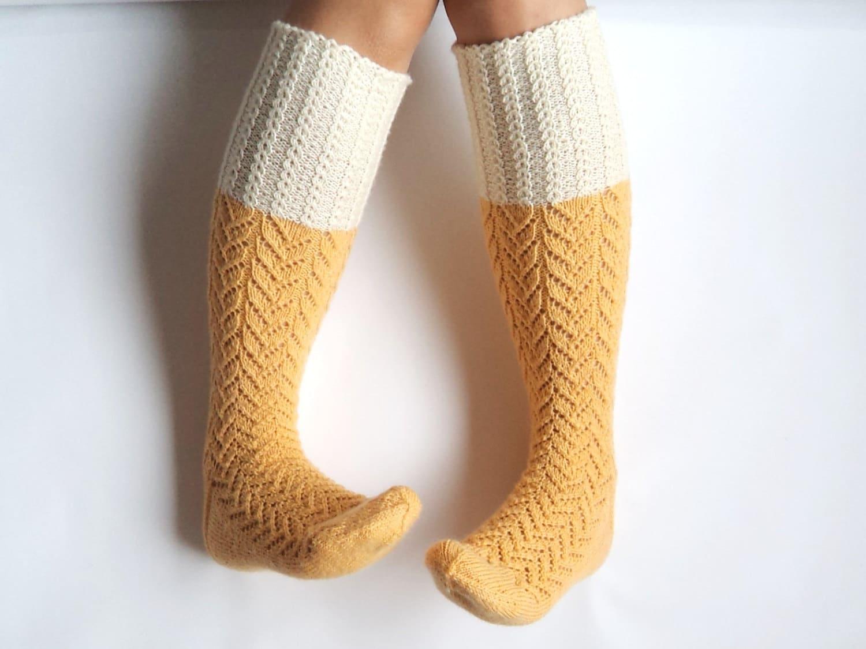 Sunshine yellow boot socks. Knee high socks. Off-white pastel