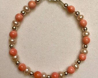 Coral, Freshwater Pearl and sterling silver bracelet