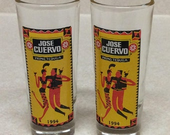 Vintage 1994 Jose Cuervo Primo Tequila Clear Shot Glasses Yellow Set Of 2
