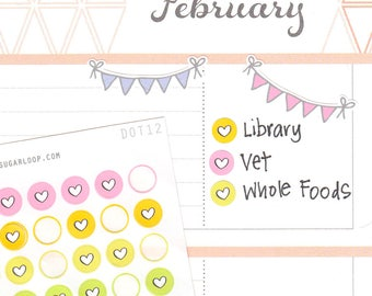 Mini Love Heart Dots Planner Stickers, 120 1/4 Inch Color Code Stickers, Pastel, Rainbow, Checklist, Bullet Points, To Do, Hand Drawn, DOT12