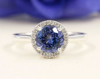 Simple Tanzanite Engagement Ring, 0.16ct High Quality Diamond Ring,Diamond Engagement,7mm AAA Round Shaped Tanzanite, F G-VS Quality Diamond