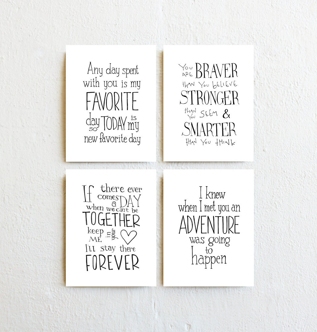 Winnie The Pooh Quote Prints Set Of 4 Inspirational