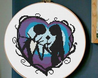 Cross stitch pattern modern disney Skellington Sally and Jack disney PDF hand embroidery Halloween hoop art stitch disney embroidered modern