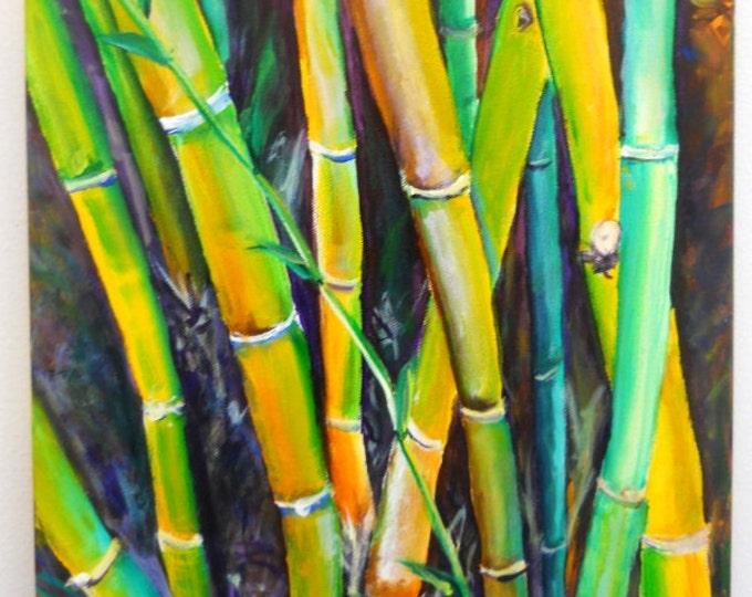 Bamboo Garden Original Acrylic Painting  from Kauai Hawaii by Marionette green yellow orange Oriental Asian
