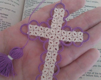 SALE Easter Purple & Creamy Ecru Bible Bookmark Tatted Cross Handmade Tatting